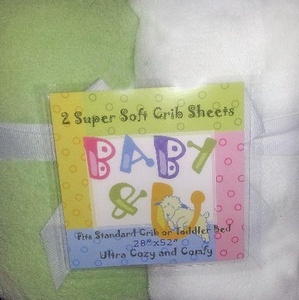 Baby & U Super Soft Crib Sheets Green and White by Baby & U