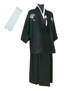 Kimono Mens Costumes Japanese Samurai Bushi Formal with Tabi Socks (L, Black)