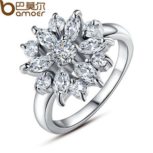 Slyq Jewelry White Gold Plated Finger Ring withar/White Cubic Zircon Wedding Jewelry 6 7 8 9 JIR030
