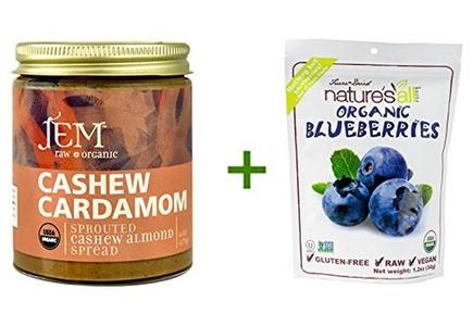 Jem Raw Organic Sprouted Cashew Almond Spread Cashew Cardamom -- 6 oz, (2 PACK), Nature's All Foods Organic Freeze-Dried Raw Blueberries -- 1.2 oz