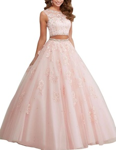 Meledy Women's Jewel Neck Applique Beaded Sweet Sixteen Ball Gowns Two Pieces Quinceanera Dress Champagne US4