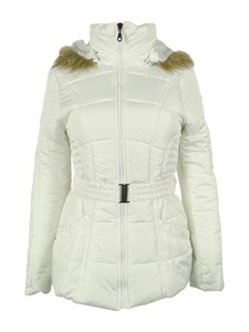 Rampage Women's Faux-Fur-Trim Belted Puffer Coat (Junior Small, White)