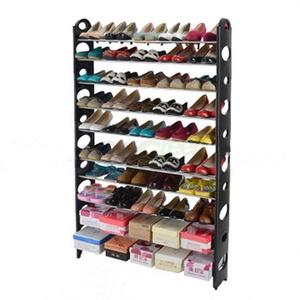 10 Tier Space Saving Storage Organizer 50 Pair Shoe Tower Rack Free Standing