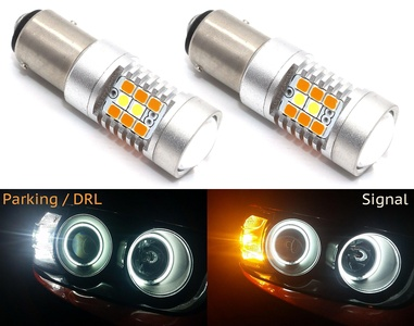 Cllena 1157 2057 2357 7528 Switchback LED Bulbs Extremely Bright 2835 28-SMD Chipsets White/Yellow For Turn Signal Lights