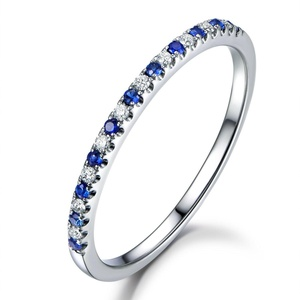 Diamond Wedding Band,14K White Gold Half Eternity Sapphires Ring,Anniversary Ring,Thin Matching Band