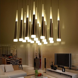 REYP-Chandelier LED Modern Minimalist Living Room Dining Room Chandelier Creative Personality penthouse Floor Lighting Lamps , 3 Long plate 55cm Warm White