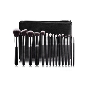 AMarkUp Pro 15 Pcs Makeup Brushes Set Powder Foundation Eyeshadow Eyeliner Lip Make Up Brush with PU Leather Case (Black)