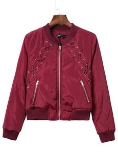 Womens Pockets Short Flying Jacket Biker Bomber Jacket Outwear (S, Wine red)