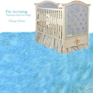 Super Soft Shag Style Area Rug - Plush Light Blue Faux Fur - Rectangle - Designer Carpets by Fur Accents USA (4'x6')