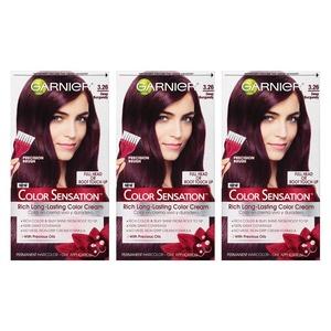 Garnier Hair Color Sensation Rich Long-Lasting Color Cream, 3.26 Deep Burgundy, 3 Count
