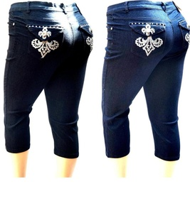 1826 Women's PLUS SIZE Stretch MID RISE Denim JEANS CAPRI BLUE & BLACK PC-2687 (22-plus, BLACK 1160)