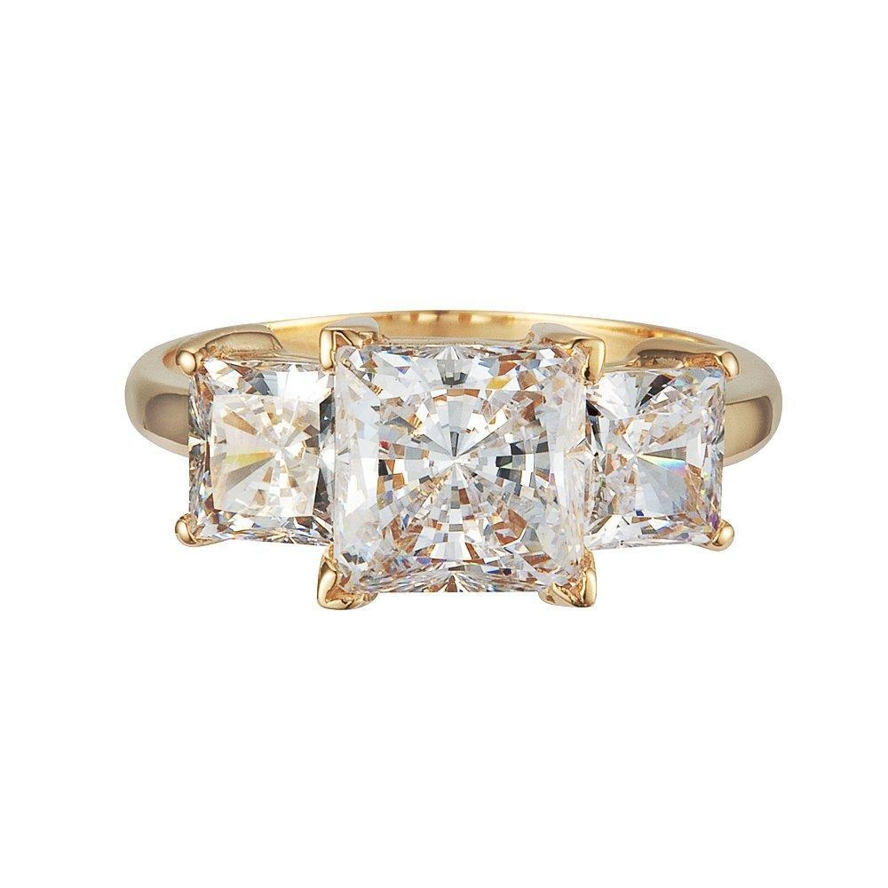 GR01045 SOLID 14K YELLOW OR WHITE GOLD 2.5CT TW 1.5CT CENTER / 0.5CT EACH SIDE PRINCESS CUT SQUARE CUBIC ZIRCONIA THREE STONE RING (white-gold, 7.5)