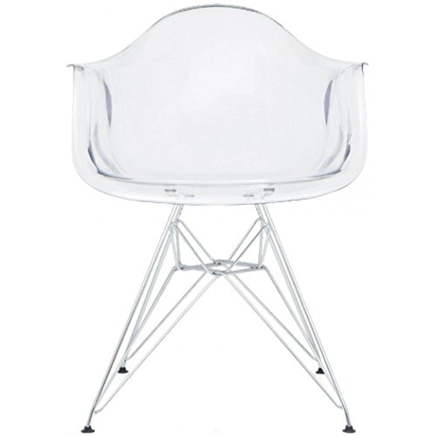 line Store 2xhome Clear Plastic Armchair With Eiffel Legs