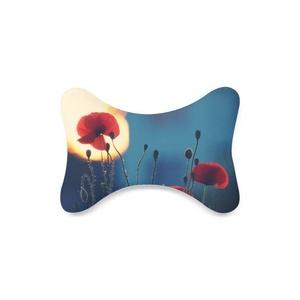 Fashion Custom Red Poppy Bone Shape Car Seat Neck Rest Custom Car Neck Pillow/Cushion Head Support Neck Support Pillow