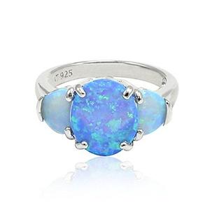 3 Stone Wedding Bridal Ring Oval Cut Lab Created Blue Opal Lab Created Light Blue 925 Sterling Silver