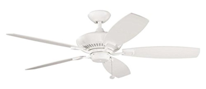 Satin Natural White 52In. Indoor Ceiling Fan With 5 Blades - Includes 6In. Downrod