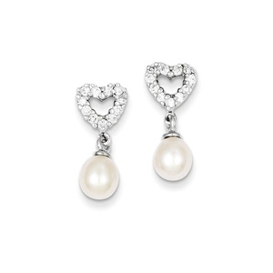 .925 Sterling Silver 20 MM Freshwater Cultured Pearl CZ Post Stud Earrings