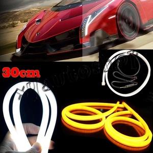 2X 30cm Flexible Car Soft Tube Guide LED Strip Lamp DRL Daytime Running Light