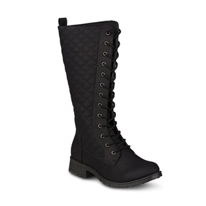 Twisted Women's Timmy Quilted Lace-Up Fashion Boot, BLACK, Size 11