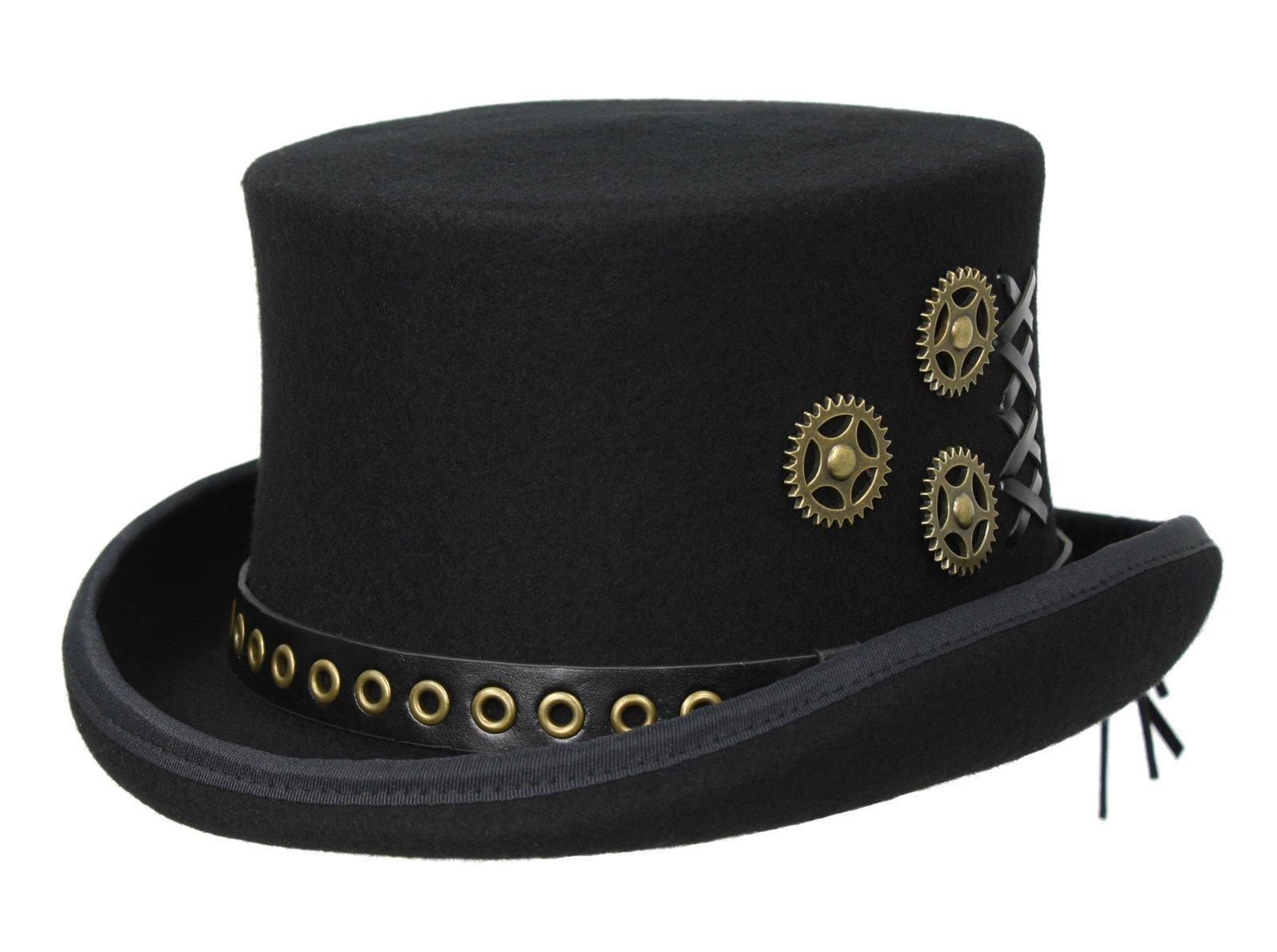Australian Wool Steampunk Top Hat, Black (Large)