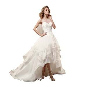JoyVany Sexy Open Back Lace Wedding Gowns Organza High Low Wedding Dresses Ivory Size 16