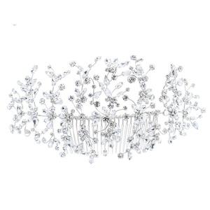 PROHAIR Classic Clear Crystals Rhinestone Big Bridal Wedding Headbands Hair Combs Women Pageant Hair Headpiece