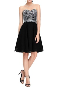 MILANO BRIDE Short Homecoming Dress Prom Gown Strapless Chiffon A-line Beads-2-Black