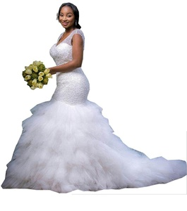 YinWen Women's V-Neck Chapel Train Sheer Straps Beaded Chapel Train Wedding Dress Size 16 US White