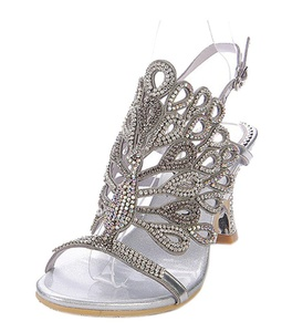 Women's Sparkle Crystal Cutouts Stiletto Ankle Strap Slingback Thick Heels Party Dress Sandals Silver PU Size 8.5 EU40