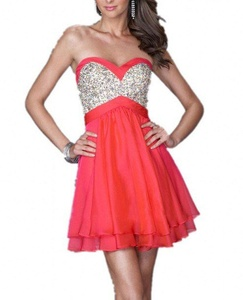 Winnie Bride Trendy Sequins Empire Cocktail Homecoming Dress with Pleated Skirt-18W-Red