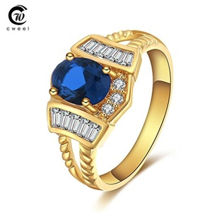 Slyq Jewelry Gold Plated Fashion Austrian Crystal Wedding Ring Elegant Bridal Holiday CZ Ring Jewelry