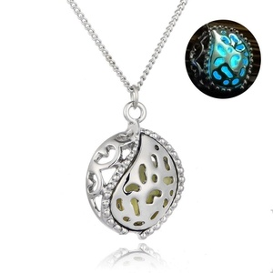 Rinhoo Charming Round Taiji Glow in the Dark Pendant Necklace White Gold Plated (Blue and Green)