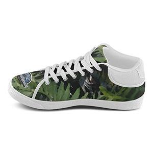 Aneozap Custom Jurassic World Men's Lace-Up Chukka Canvas Shoes Casual Flats,White