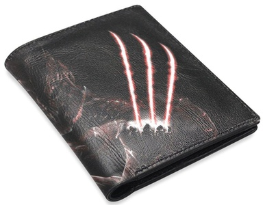 Multipurpose & Large Capacity Classic Men's Leather Wallet with Masks Wolverine Hero Background