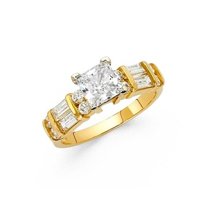 Ladies 4mm 14K Solid Yellow Gold Cubic Zirconia Princess Cut Engagement Wedding Ring, Size 5.5