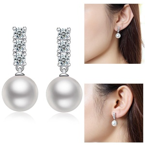 Sterling Silver Pearl Stud Earrings-925 Sterling Silver Freshwater Cultured Shell Pearl Earrings Round Ball Studs with Cubic Zirconia, Women Romatic Silver White Pearl Earr Studs-10mm Diameter