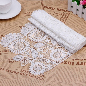 2 Yards Hollow Flowers Embroidered Lace Fabric Trim Ribbon DIY Wedding Bridal Dress Decorations Sewing Craft - 10.24 inch Width