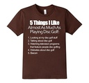 Kids Things I Like About Frisbee Disc Golf & Bacon T Shirt 12 Brown