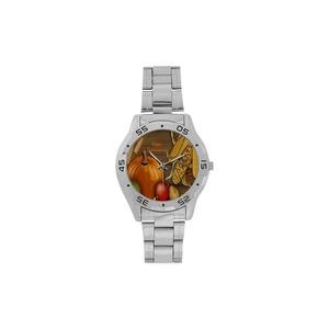 Happy Thanksgiving Day Pumpkin Art Design Woman Men's Stainless Steel Analog Watch,Watch Face Diameter: 1.5