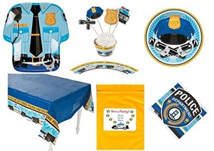 Police Dept. theme Birthday Party Tableware Decorations (1 Tablecloth, 8 Dinner Plates, 8 Dessert Plates, 16 Napkins, 50 Cupcake wrappers and picks, Bonus Bag) by Multiple