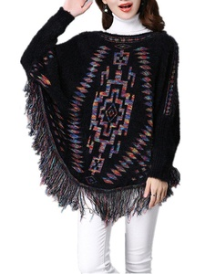 Season Show Womens Knitted Sweater Long Batwing Sleeve Tassel Pullover Sweater Black
