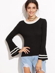 Black and White Contrast Bell Sleeve Sweater