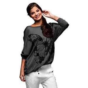 Batwing Sleeve Blouse, Misaky Womens Loose Casual Shirt Ladies Tee Tops (L, Gray)