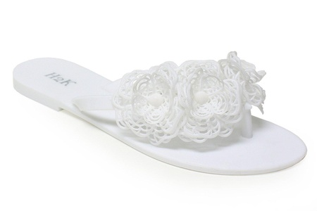 Jelly Flip Flops for Women, H2K 'FLORA' Women's Summer Beach Flat Comfy Fashionable Jelly Flip-Flops [Thong Sandals] Slip-On Slippers Shoes with Flower Embellishment, White Size 8 M [US Size]