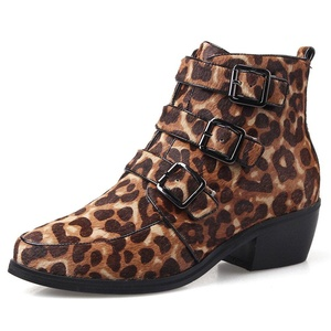 Nine Seven Genuine Leather Women's Pointed Toe Chunky Heel Buckle Leopard Print Handmade Ankle Bootie (10, black-leather)