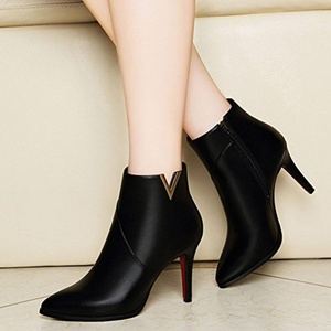 YGGER Women Fashion Sexy Handmade Stiletto High Heel Ankle Booties Pointed Toe Boots Black 4.5 D(M) US