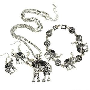 FLOWERALIGHT Silver Elephant Pendant Necklace Drop Earrings Link Bracelet Jewelry Set for Women Girls (Black)