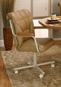 Casual Rolling Caster Dining Chair with Wood Arms and Polyurethane Seat and Back (1 Chair)