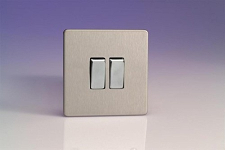 XDS2S - Varilight - Flat Plate Screwless - Brushed Chrome Metal Inserts - 2 Gang 2 Way 10A Light Switch by Flat Plate Screwless - Brushed Chrome