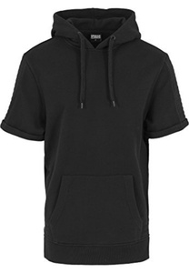 Urban Classics Men's Kapuzenpulli Short Sleeve Side Zipped Hoody - Sweatshirt - Black (Schwarz), X-Large (Manufacturer size: X-Large) by Urban Classics
